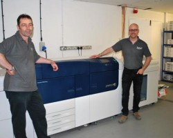 The Xerox Versant 2100 Press with Hunts' Rich Wickson on the right and Hunts' Simon Barrett on the left