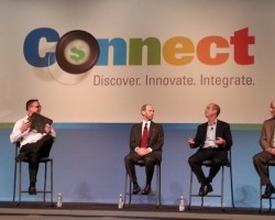 L-R- EFI's Frank Mallozzi and customers at Connect 2014. Attendance for Connect 2015 is up 20%.