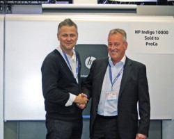 Jon Bailey, Managing Director, ProCo confirms the sale of the HP Indigo 10000 Digital Press at the Dscoop EMEA conference 2015
