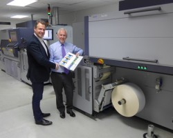 Helmuth Munter (left), Durst's Segment Manager, Labels & Package Printing, with David Webster in front of the Durst systems at LabMak's headquarters