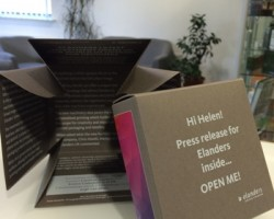 Elanders personalised press release box unfolded