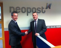L R Duncan Groom (PFE) is officially welcomed by Cathal O'Boyle MD Neopost Ireland