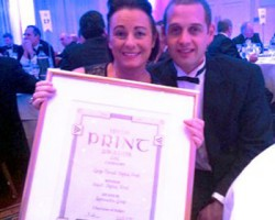 A delighted Tara Wilson-Black & Philip A. Black with their sixth Irish Print Award