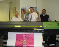 l-R Allan Ashman of Atech, with Doug McBride and Foad Saberian, MD of Fingerprint FO+