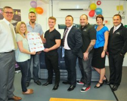 L-R: Keith Ross, Director of Kestrel Printing Ltd; Emily Hewett (iamemily), who designed the charity literature; Chris Hyde from the Southend-on-Sea Cystic Fibrosis Association; Joe Tonge; Andy Mansfield,  Account manager at Antalis UK; Ashley Cross, Kestrel Printing Ltd; Marian Thomasson, Marketing Communications Manager at Antalis UK; John Galley, Director of Kestrel Printing.