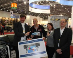 Winner European Wrap Star SII (left to right): Frank Jänschke, Head of Sales WFP, Seiko Instruments GmbH Winner Carl Felix Maas, Folien Center-NRW GmbH Stephanie Rohn, Product Manager WFP, Seiko Instruments GmbH Frank Kühn, Managing Director, Seiko Instruments GmbH