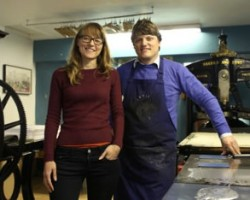 L - R Jacinta Sullivan, Project Hangup with David  Borrington from Dekkle Printmaking Studio