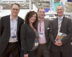 L - R Oliver Luedtke, Kornit Digital's marketing manager for EMEA, Verena and Marcus Borghoff of ESC Decotec, and Wilfried Kampe, managing director of Kornit Digit Europe