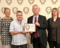 The Antalis team that received its Gold Standard award from RoSPA for the third consecutive year. L to R: Rachel Peacock - HR Operations Director, Antalis UK, Paul Edmans - Conversion Operative, Antalis UK, Mike Hann - Group Health & Safety Manager, Antalis UK, Julie Hayward - Health & Safety Advisor, Antalis UK