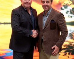 Stewart Bell (left) and Eloi Ferriera shake hands on the opening of MTEX in the UK